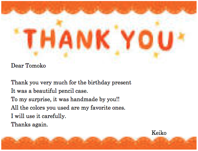how to write a thank you card 幼児英会話もnesイングリッシュスクール